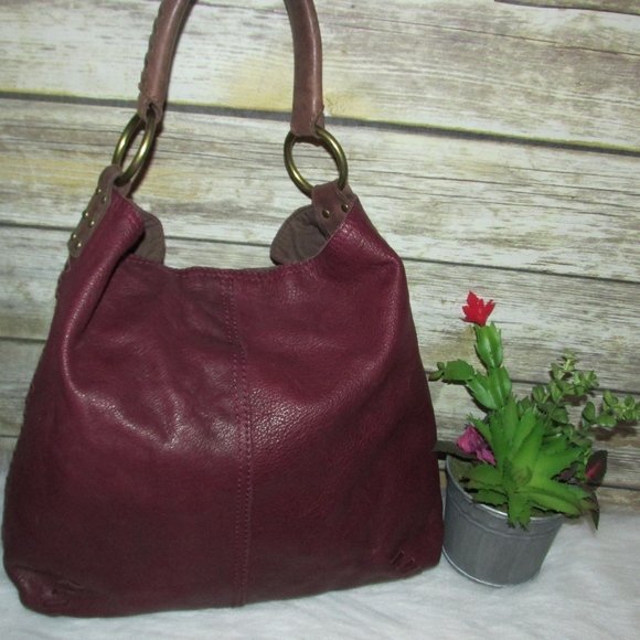 Lucky Brand Handbags - Lucky Brand Burgundy Leather Whipstitch Tote Hobo
